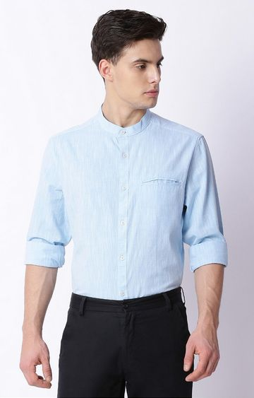 The Bear House | Blue Melange Formal Shirt