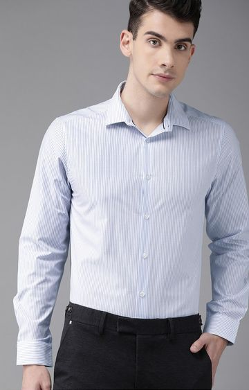 The Bear House | White Striped Formal Shirt