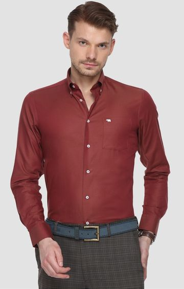 The Bear House | Maroon Solid Formal Shirt