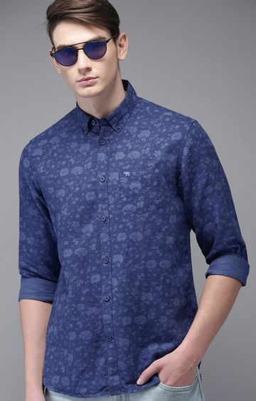 The Bear House   Blue Printed Casual Shirt