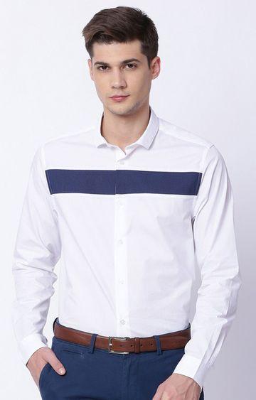 The Bear House | White Colourblock Formal Shirt
