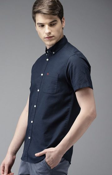 The Bear House | Blue Solid Casual Shirt