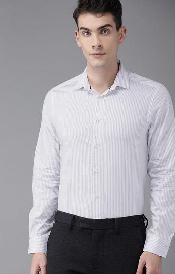 The Bear House | White Striped Formal Shirt