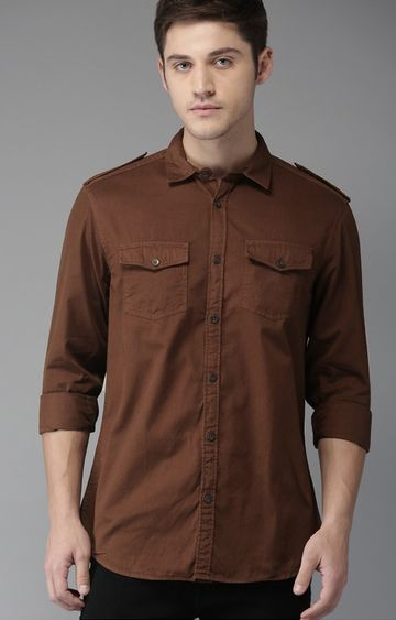 The Bear House   Brown Solid Casual Shirt