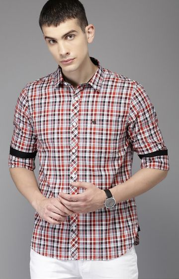 The Bear House | White and Red Checked Casual Shirt