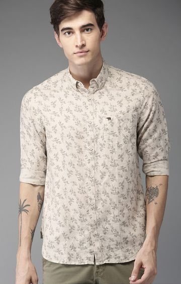 The Bear House | Cream Printed Casual Shirt