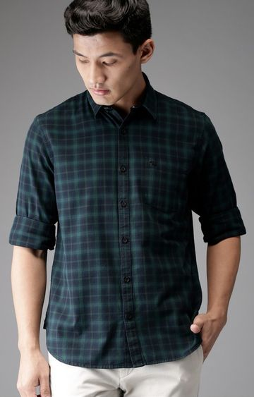 The Bear House | Blue Checked Casual Shirt