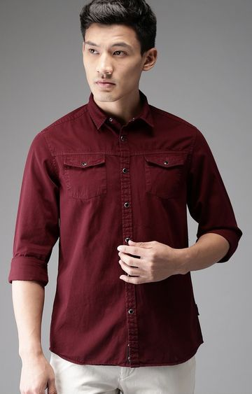 The Bear House | Maroon Solid Casual Shirt