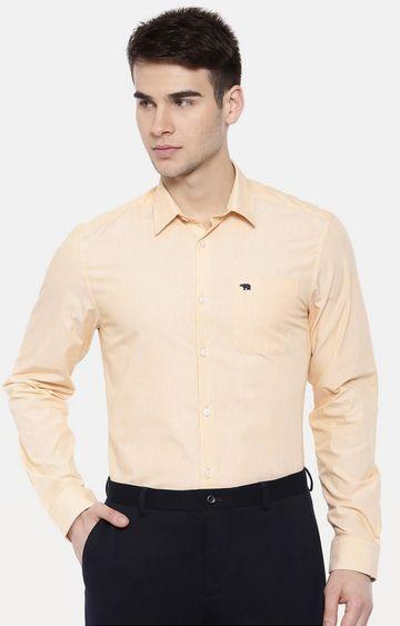 The Bear House | Yellow Printed Formal Shirt
