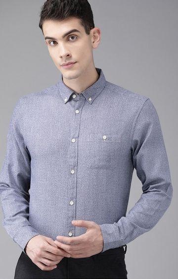 The Bear House   Blue Melange Formal Shirt