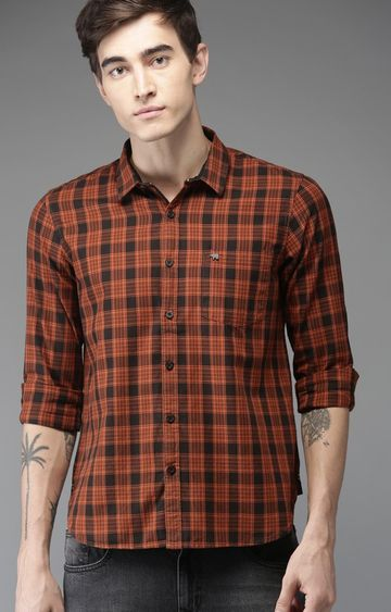 The Bear House   Rust Checked Casual Shirt