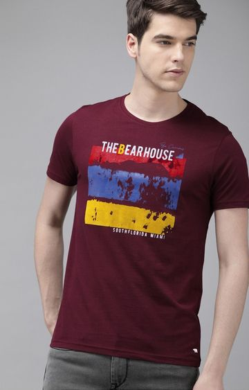 The Bear House | Maroon Printed T-Shirt