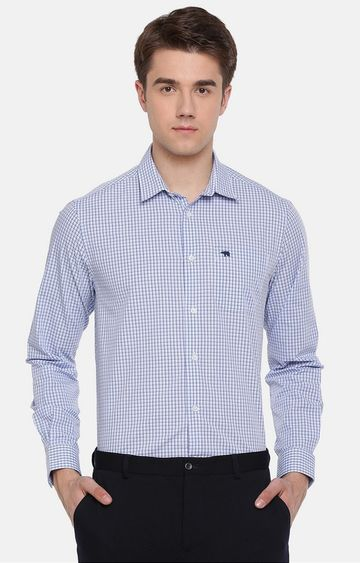 The Bear House | White and Blue Checked Formal Shirt