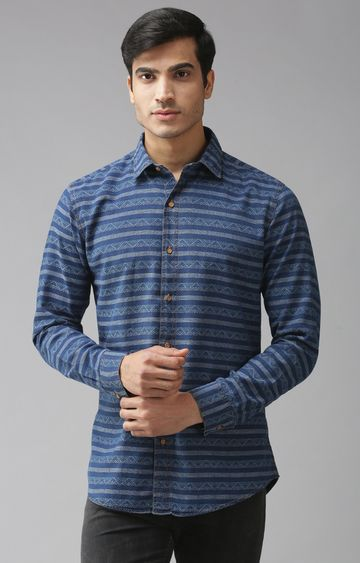 Eppe   Blue Striped Casual Shirt