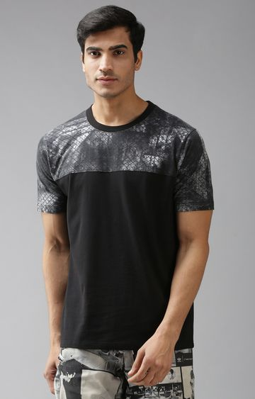 Eppe | Black and Dark Grey Printed T-Shirt