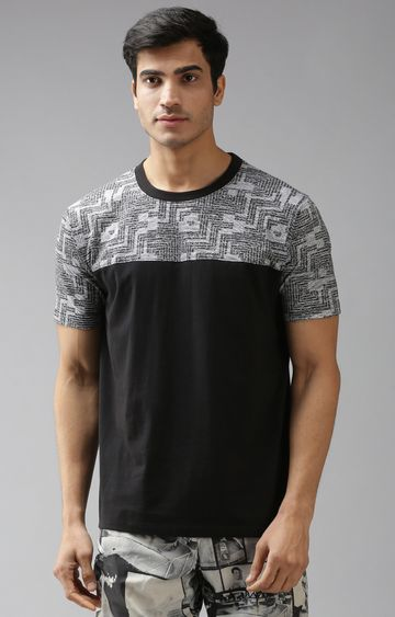 Eppe | Black and Light Grey Printed T-Shirt