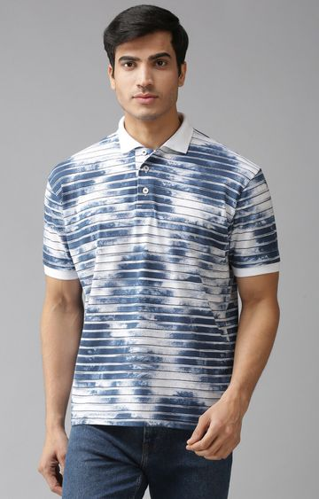 Eppe | White and Blue Striped Polo T-Shirt