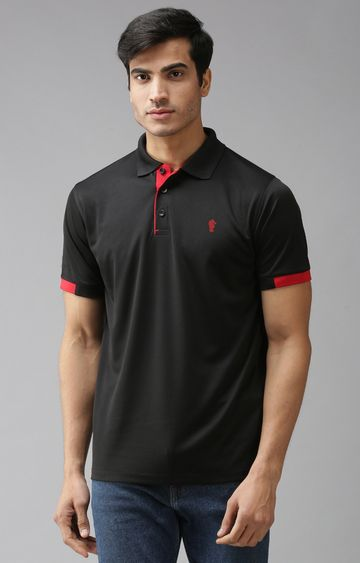 Eppe | Black and Red Solid Polo T-Shirt