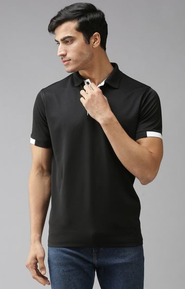 Eppe | Black and White Solid Polo T-Shirt