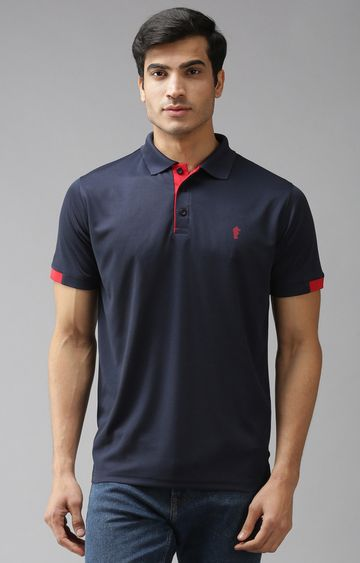 Eppe   Navy and Red Solid Polo T-Shirt