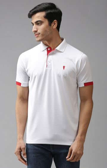 Eppe | White and Red Solid Polo T-Shirt