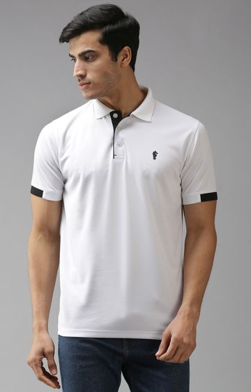 Eppe | White and Black Solid Polo T-Shirt