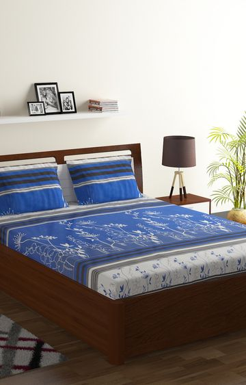 ISpace | IWS 104 TC Cotton Double Printed Bedsheet (Pack of 1, Blue)