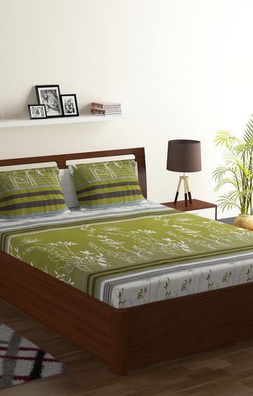 ISpace | IWS 104 TC Cotton Double Printed Bedsheet (Pack of 1, Green)