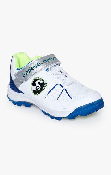 SG | White and Aqua Cricket Shoes