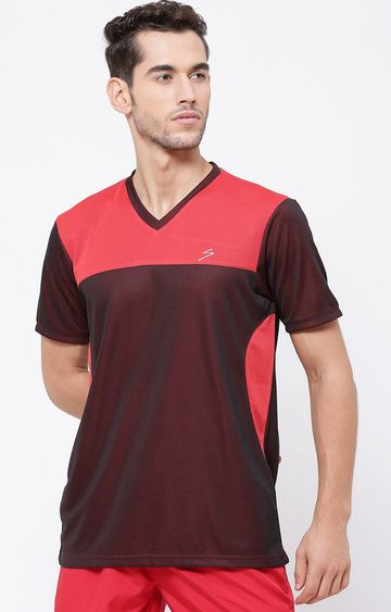 SG   Red and Black Colourblock T-Shirt