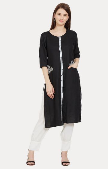 Desi Belle | Black Solid Kurta