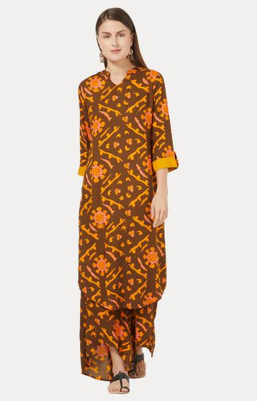 Desi Belle | Brown Printed Kurta