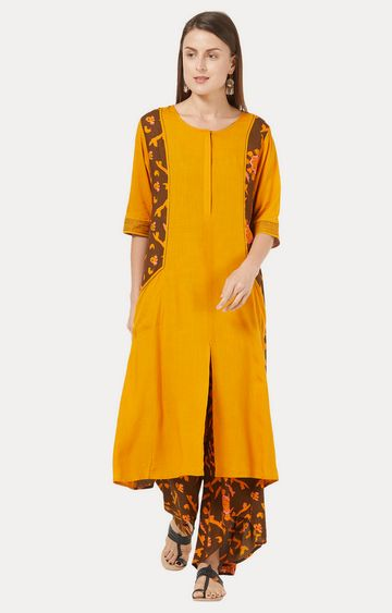 Desi Belle | Mustard and Brown Printed Kurta