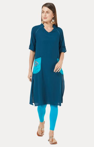 Desi Belle | Blue Solid Kurta