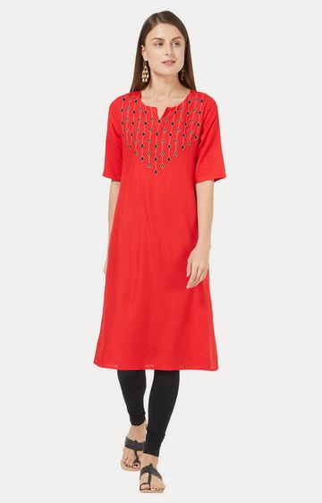 Desi Belle | Red Embroidered Kurta