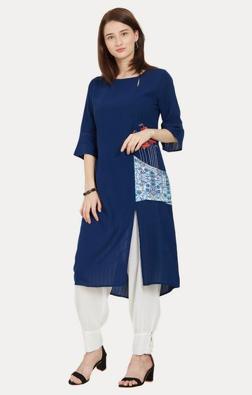 Desi Belle | Blue Embroidered Kurta