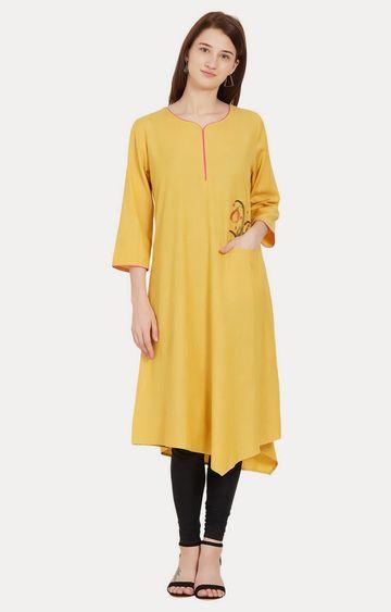 Desi Belle | Yellow Melange Asymmetric Kurta