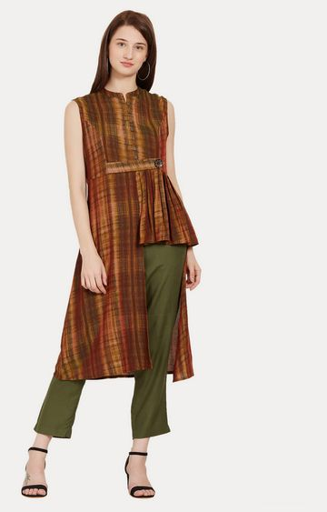 Desi Belle | Brown Printed Asymmetric Kurta