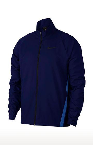 Nike | Blue Solid Dri-Fit Activewear Jacket