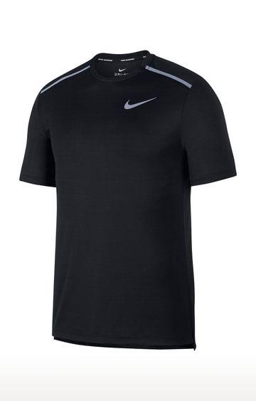Nike | Black Solid Dri-Fit Miler T-Shirt