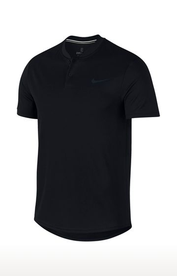Nike | Black Solid Dri-Fit Polo T-Shirt
