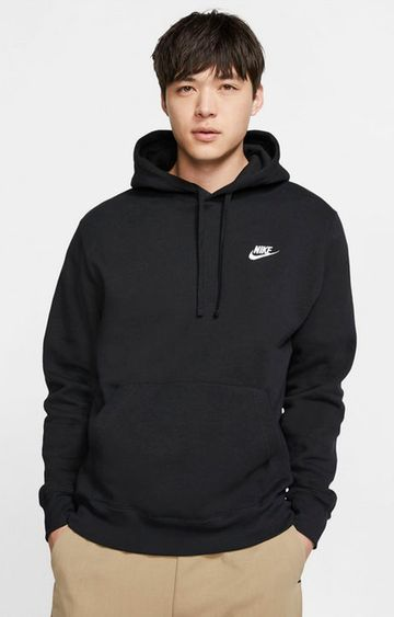 Nike | Black Solid Sportswear Club Fleece Hoodie