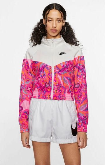 Nike | White Printed Activewear Jacket