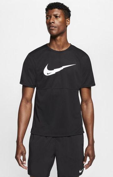 Nike | Nike Black Solid Breathe Run Ss Wr Po G T-Shirt