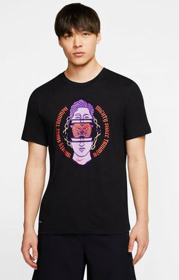 Nike   Black Dri-FIT Printed T-Shirt