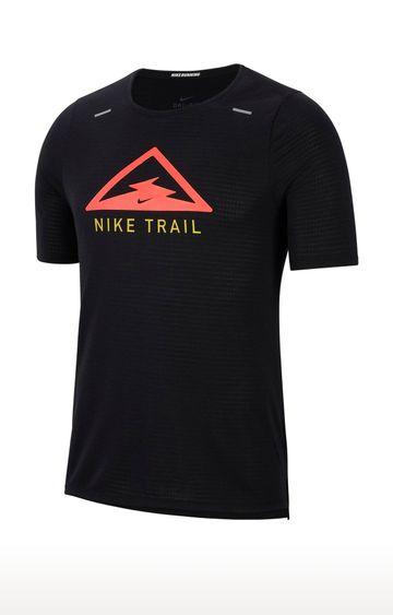 Nike | Black Rise 365 Trail Printed T-Shirt