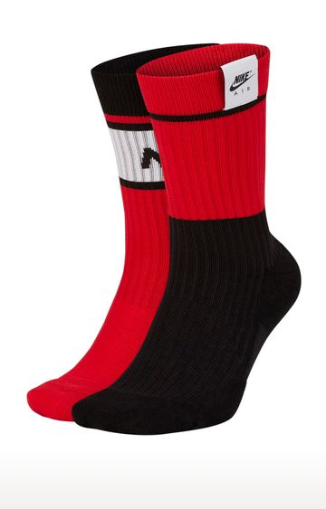 Nike | Red and Black Colourblock Crew Socks