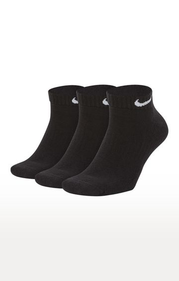 Nike | Black Solid Everyday Cushioned Socks - Pack of 3