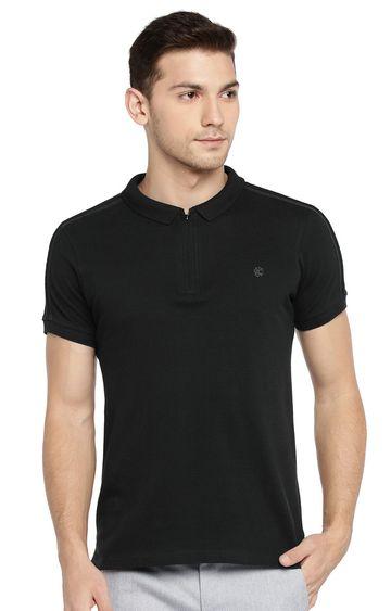 Killer   Black Solid Polo T-Shirt