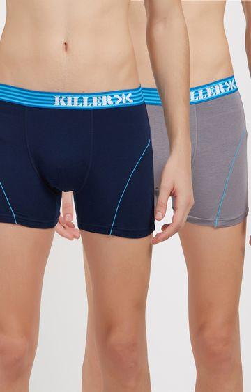 Killer   Navy and Grey Solid Trunks - Pack of 2